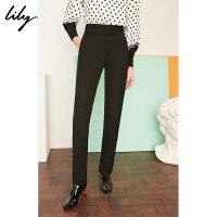 【25折到手价:224.75元】 Lily春新款女装商务黑色修身显瘦锥形裤休闲裤119120C5217