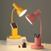 北欧插电式创意笔筒小台灯护眼书桌大学生宿舍卧室床头灯ins 少女