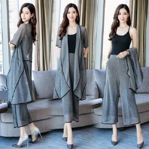 2018夏装新款女装韩版不规则气质宽松大码阔腿裤时尚套装三件套潮