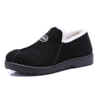 冬季棉鞋低帮雪地靴女加绒毛毛鞋懒人休闲防滑孕妇面包毛毛瓢鞋