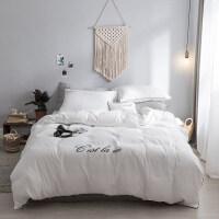 裸睡双层纱纯色四件套简约日式床上用品双人被套床单