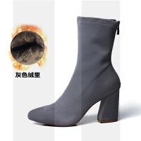 2018新款短靴女秋冬粗跟弹力靴女靴高跟尖头中筒靴英伦风马丁靴子SN0456 39 女款