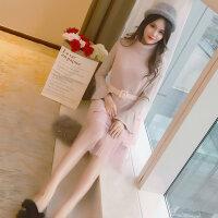针织连衣裙秋冬装2018新款女马甲长袖毛衣有女人味的两件套装裙子