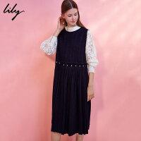 Lily春新款女装商务不对称多种穿法无袖连衣裙117410F7109