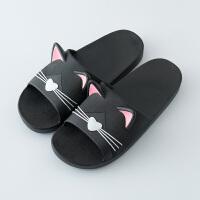 拖鞋女夏家居室内软底防滑儿童拖鞋男夏家用外穿浴室洗澡 黑色猫咪 猫咪