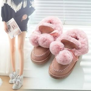 女式 雪地靴女秋冬新款绒毛一体雪地靴女短筒百搭保暖可爱毛球带蝴蝶结女靴