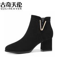 2017秋季新款马丁靴女英伦风短靴高跟女靴单靴粗跟冬鞋女鞋