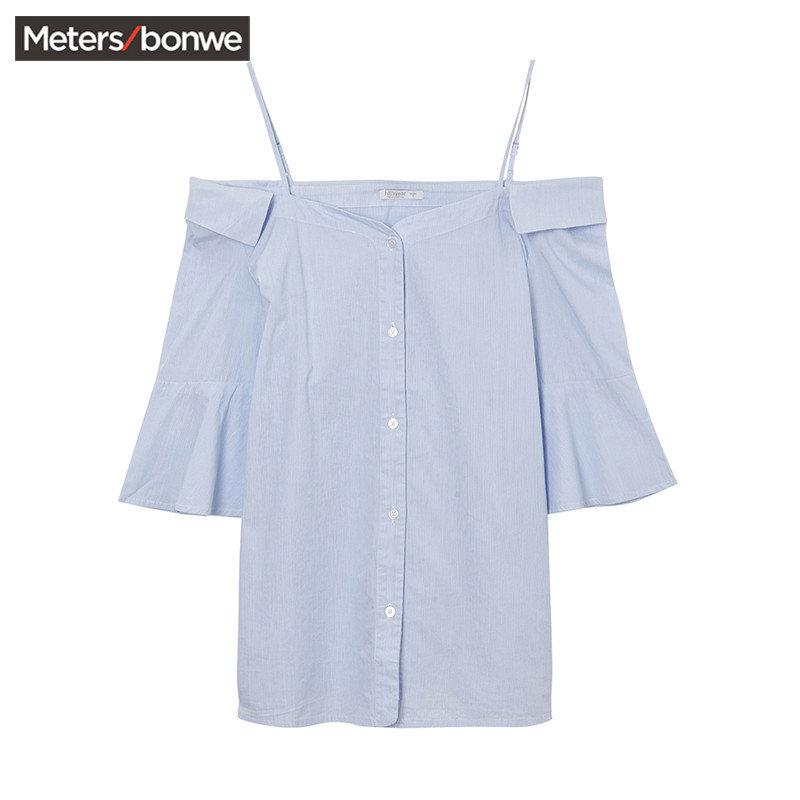 美特斯邦威上衣女夏装新款喇叭袖吊带漏肩衬衫225747商场同款