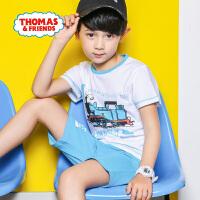 【2件5折】托马斯正版童装男童夏装2018夏季新款全棉短袖T恤+短裤套装两件套