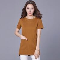 夏装2018女士上衣韩版宽松显瘦中长款打底衫胖mm大码短袖T恤
