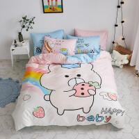 ???卡通儿童床上四件套男孩女孩全棉被套床单三件套学生宿舍单人