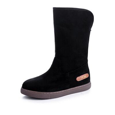 雪地靴女士平底防水韩版中筒靴子女冬季加绒加厚棉鞋