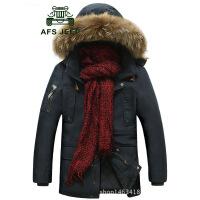 Afs Jeep男士中长款棉衣可脱卸帽休闲外套冬季加厚大码棉服158318