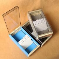 益而高 名片盒 名片座名片818L 约装700张名片 塑料分类收纳盒大容量 大容量索引分类名片盒 卡牌整理盒