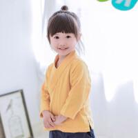 汉服童装中国风男女童春秋棉麻上衣儿童改良唐装打底衫复古衬衣