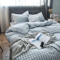 简约纯棉水洗棉床上四件套无印纯色格子全棉良品床单床笠被套床上用品 灰色 渐变格蓝
