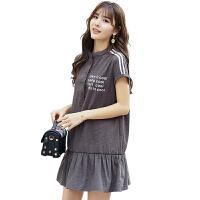 孕妇装夏装2018新款时尚潮妈中长款纯棉连衣裙子韩版孕妇上衣6240