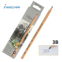 MARCO/马可 7001-12CB 高级绘图铅笔12支装/3B 原木杆初学者素描笔专业美术用品画材套装速写笔儿童全灰