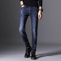 秋冬季保暖加绒牛仔裤男士黑色修身型小脚弹力加厚青年潮流长裤