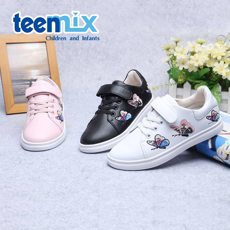 天美意新款蝴蝶刺绣儿童小白鞋女童春季单鞋运动鞋中大童防滑板鞋 DX0234