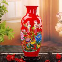 陶瓷落地花瓶家居客厅工艺品装饰摆件中国红牡丹