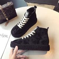 2018冬季新款靴子女鞋圆头2018年冬季橡胶平跟平底前系带绒面拼色
