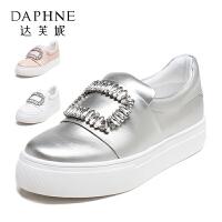 【达芙妮年货节】Daphne/达芙妮vivifleurs系列 简约方扣水钻乐福鞋平底白鞋厚底女单鞋