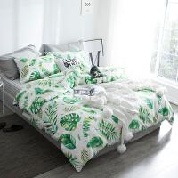 绿植系棉床上四件套 清新棉床单被套三件套床品套件