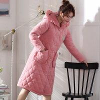 睡袍女袍加厚加长款冬季女士加棉加绒中长款法兰绒保暖夹棉浴袍