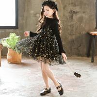 女童连衣裙秋装韩版儿童洋气裙子秋季女孩公主假两件网纱