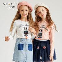 【1件3折到手价:53.7】米喜迪mecity童装19新款女童T恤秋装前胸猫咪人平面长袖t恤