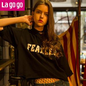 Lagogo2017年夏季新款时尚纯棉百搭印花连帽薄卫衣T恤女宽松短款