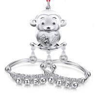 S990足银银宝宝手镯 长命锁套装 婴儿银饰儿童平安锁满月礼盒
