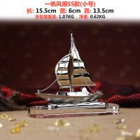 商务礼品定制一帆风顺帆船摆件办公室工艺品毕业礼物纪念开业 小号银色 一帆风顺