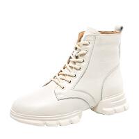 鞋子女冬加绒网红短靴女秋季白色马丁靴女英伦风学生韩版2018新款hgl 米白色 单里