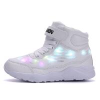 秋季儿童LED亮灯鞋男童七彩灯USB可充电发光鞋女童闪光带灯运动鞋 25--36