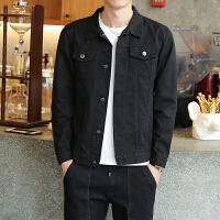 男士牛仔外套春秋季韩版潮流夹克帅气修身外衣服2018新款休闲男装 黑色 夹克