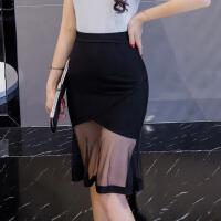 春夏秋冬一步裙网纱半身裙透视弹力包臀裙黑色性感鱼尾裙子短裙女