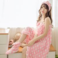 ???加大加厚浴巾裹抹胸女可穿比纯棉睡裙美容院浴裙三件套 75x145cm