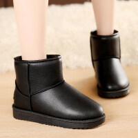 冬季防水皮面雪地靴女短筒平底短靴加厚加绒棉鞋防滑保暖黑色靴子