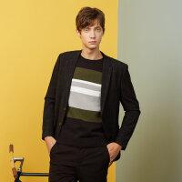 【1件3折到手价:134.97】美特斯邦威西服男士冬装新款简洁休闲修身显瘦格子西装