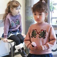 女童卫衣童装春装薄绒韩版儿童花朵刺绣外套宝宝套头绒衫