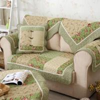 碎花田园绗缝布艺沙发垫防滑夏季组合沙发巾罩飘窗垫