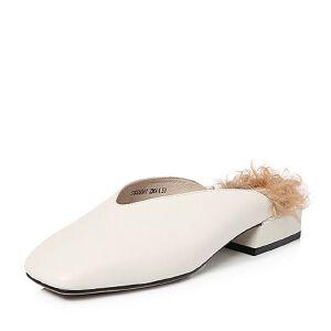 Tata/他她2018春专柜同款牛皮通勤简约方头女穆勒鞋S1026AH8