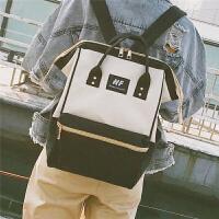 日系韩版大容量双肩包女原宿风高中学生书包帆布旅行背包男电脑包 深蓝+浅灰色 【送笔袋】
