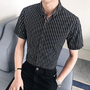 新款韩版夏季男装半袖衬衫条纹修身潮流短袖休闲衬衣22