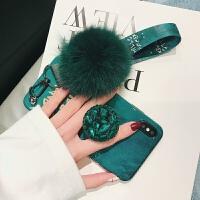 祖母绿毛球苹果x手机壳新款i7p水钻iPhone8plus硅胶xr时尚女款6s8挂绳iPhonexs
