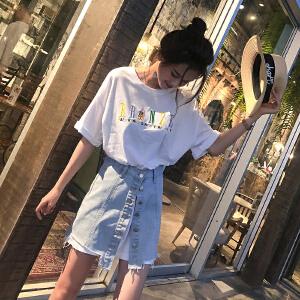 谜秀两件套连衣裙女2018夏装新款韩版修身中长款T恤牛仔半身裙子