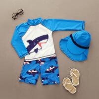 韩国儿童泳衣男童防晒长袖分体游泳衣宝宝帅气鲨鱼速干冲浪服套装 蓝色鲨鱼+长帽