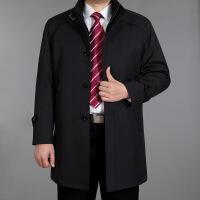 秋冬中老年人男士风衣中长款休闲商务外套中年加肥加大风衣爸爸装